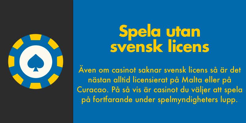Casino utan svensk licens har licens från Malta eller Curacao